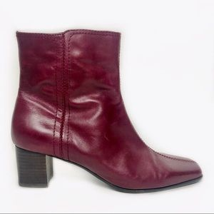 "Nine West ""Solset"" Leather Chunky Heel Boot Red 9M"
